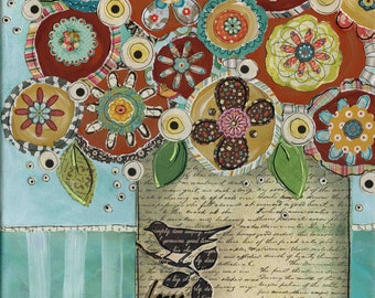 Love Deeply, mixed media wall art print, painting, bird
