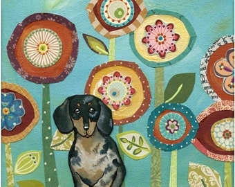 Dapple Doxie, dachshund dog art portrait with mixed media flower art background, ornaments available, wiener dog lovers gift