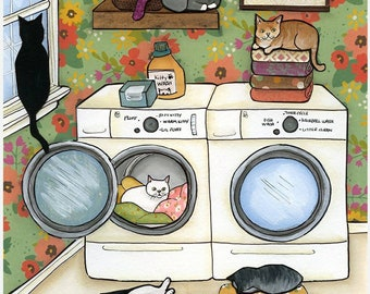 Little Ball of Fur, Cats in the laundry room, snuggling in warm blankets, Cat on folded towels.