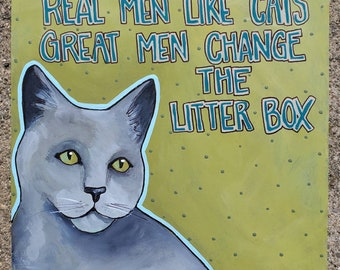 Great Men, Original Cat painting on Wood