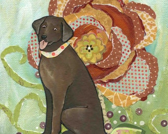 Chocolate Lab, Labrador retriever dog art print portraits with mixed media floral background, burnt orange green colors, ornament available