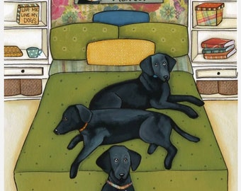 Black Labs Matter,Black labs on the bed, Three labs, Green Bed, Black labs do matter
