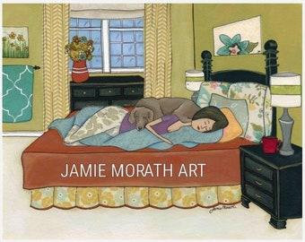 Weimaraner Bed Hog, dog art print, bedroom home decor, bed hog, bedding, floral pillows, turquoise blanket, blue throw, dog ornament