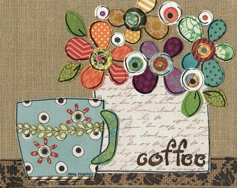 Coffee Shower, mixed media flower on burlap