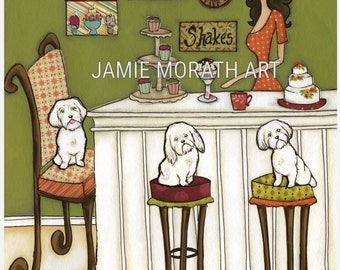 Maltese and Muffins, Maltese dog art print, ornaments available, kitchen wall art sign, kitchen coffee bar, cake decorating, white fluff dog