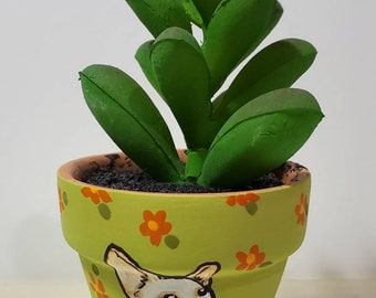 Chihuahua planter with artificial succulent