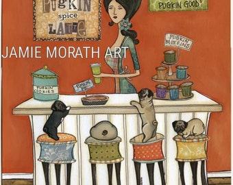 Pugkin Good, pugkin latte, pumpkin spice, funny pug kitchen art print, dog painting, ornaments, coffee kitchen, dining room, home decor