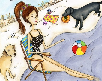 Labradore You~  My happy Place, black yellow labrador retriever, lab on beach, beach chair, ocean, soccer, beach ball, bathing suit