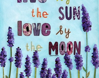 Sun and Moon, mixed media lavender art print