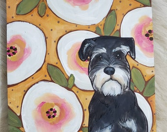 Schnauzer painting on reclaimed wood
