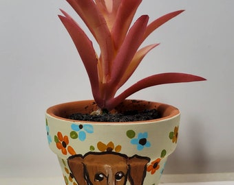 Piebald Doxie mini pot with artificial succulent