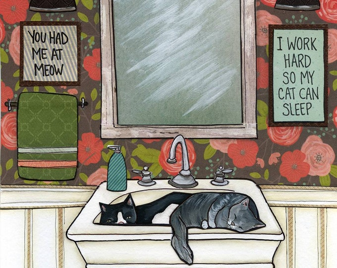 So My Cats Can Nap, I work hard so my cats can sleep, You had be at Meow, cat kitten painting art print, grey tabby cat laying bathroom sink
