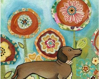Doxie, dachshund dog portrait with mixed media flower pattern background, spring flower art