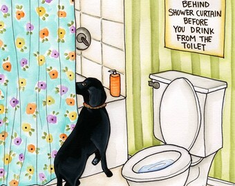 Look For Murderer, Lab keeping owner safe, Loyal lab missing Mom, Bathroom art, Black Lab