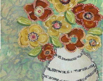 Brighten Your World, mixed media flower art print, painting, folk art, paper flowers