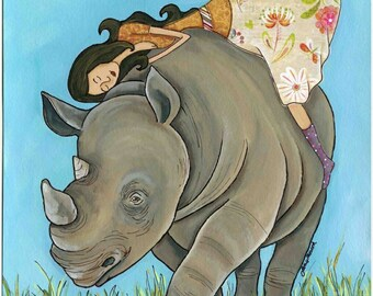 Lovin Me a Rhino, Riding on a rhino, Love from human to rhino, endangered species