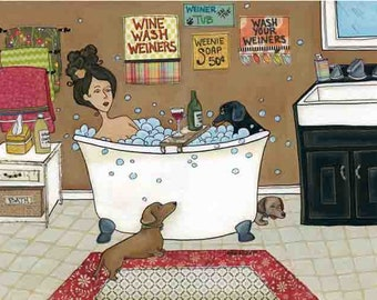 Weiners in the Tub, dachshund dogs in bathtub with lady taking bath, mixed media doxie art print