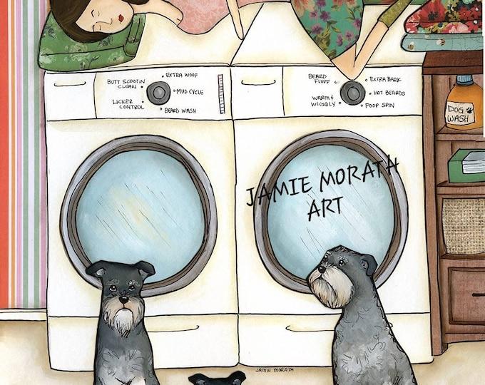 Moody Mom, Laundry today or Moody Mom tomorrow, schnauzer dog art print. Laundry room