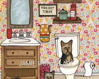 Yorkshit Terrier, with Yorkshire Terriers in bathroom, yorkie dog art print, flower pattern wall home decor in pink, yellow and turquoise