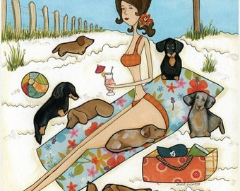Beach Weenies Forever, Beach art, Dachshunds on the beach, Lady relaxing on the beach with her doxies