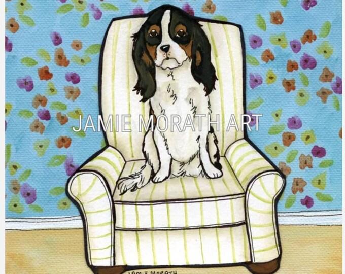 King's Chair, King Charles Spaniel dog art print in white dog chair
