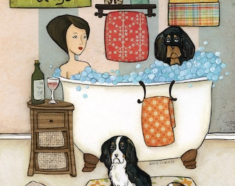 King of Bubbles, King Charles Spaniel dog art print, bathroom, bubbles and wine, home decor bath wall art