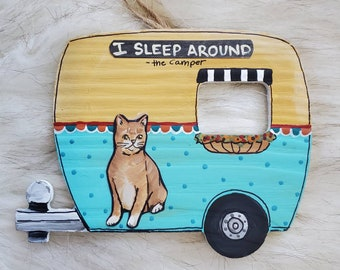 Orange Cat Camper Ornament