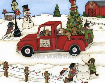 Winter Wienerland, Dachshund Christmas, vintage red Christmas truck, doxie Holiday sweater, snowman kit, red barn, lights, santa hat, Orname