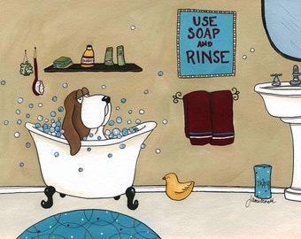 Use Soap and Rinse, dog art print