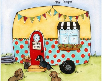 The Camper, dachshund dog art print with doxies sitting around campfire with quote I sleep around, watercolor dog art portrait
