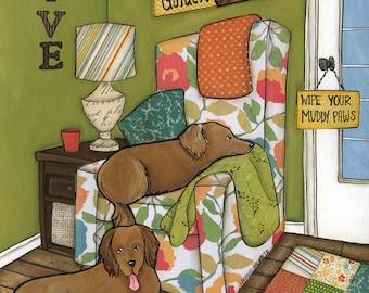 Love and A Golden, golden Retriever dog art print
