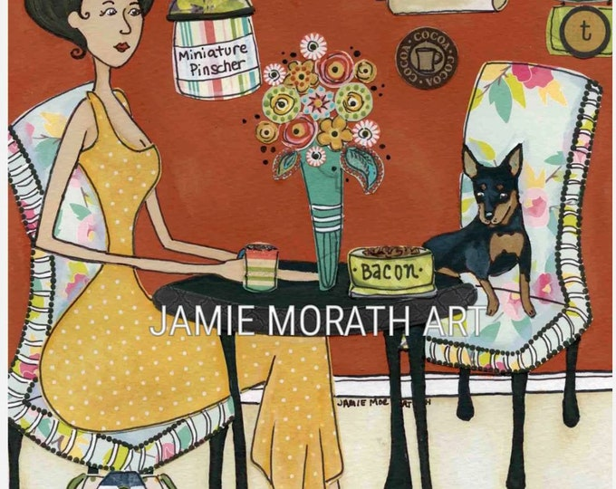 Date With Min Pin, miniature pincher dog art print also available in wood ornament, life's short eat cookies sign, kitchen wall art