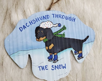 Dachshund Through the Snow ornament