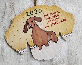 2020 The Year I finished Netflix on Moms lap, handpainted ornament