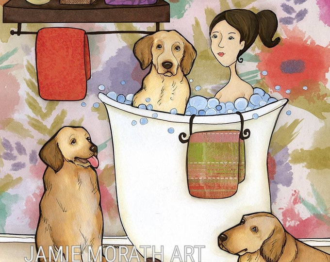 Dingleberry Wash, wash those Dingleberries, lady in bathtub with golden retriever dogs, dog art bathroom print, bubble bath, dog painting