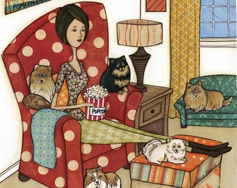 Pomeranians and Popcorn, Polka Dot chair, Pomeranians sitting with mom eating popcorn watching a movie