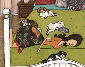 The Havanese Hump, havanesedog art print painting, lady on bed with dogs, dog lovers gift, white bed frame, Dog Christmas ornament