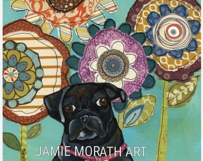 Black Pug, mixed media flower background with fat black pug portrait