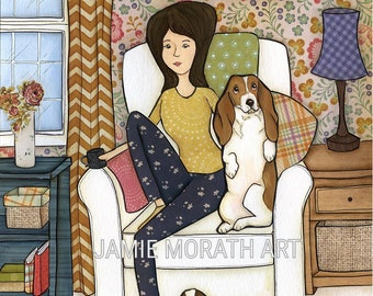 Move The Basset, Basset Hound dog art print, lady sitting in recliner chair with basset hound, best seat in the house move the basset
