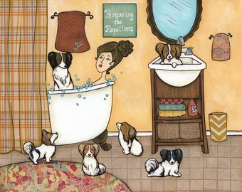 Pampering the Papillons, lady in bath tub with papillion dogs in bathroom, plaid shower curtain, funny bathroom dog art print