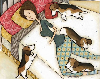 Bed of Beagles, lady sleeping in bed with beagle dog art print, beagles hogging bed, every day life with pets