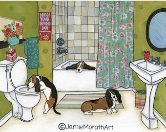 Wash Your Hounds, dog art print