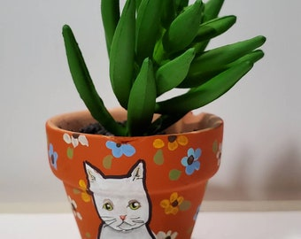 White Cat mini pot with artificial succulent