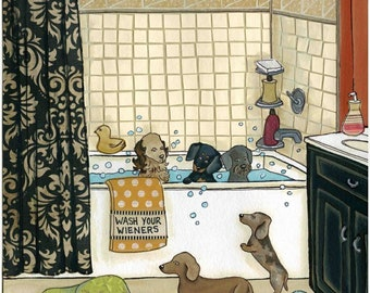 Wash Your Wieners, dachshund dogs getting bath in bathtub, doxies and rubber ducky, dog art print, ornament available, bath humor