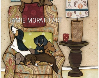 Chair Full of Weenies, dachshunds sitting in paisley pattern chair, piebald dachshund, piebald doxie