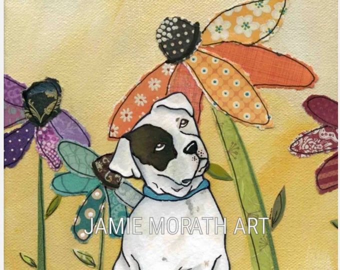 Boxer, white boxer dog art print with daisy flower background