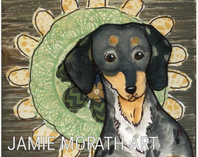 Flower Dapple Doxie, dapple dachshund dog art print with mixed media flower art