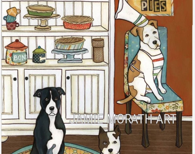 Pits and Pies, pitties, pitty, pitfall dog art print, kitchen home decor, wall sign, baking pies, kitchen cupboard, dining chair, chef hat