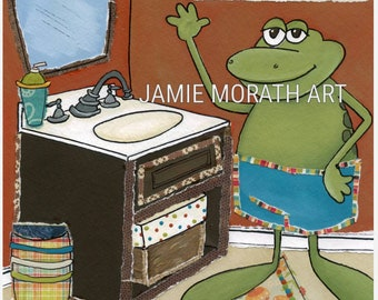 Don't Froget, frog wash your hands, kids bathroom art, wash your hands, children's bathroom wall art print, kids bathroom, frog lovers