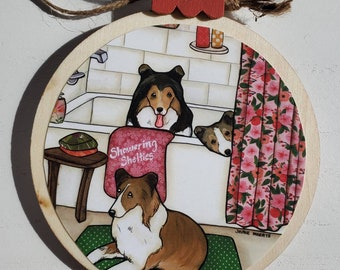 Showering Shelties ornament
